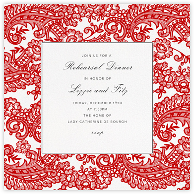 Filigree Lace (Square) - Vermillion - Oscar de la Renta - Wedding Weekend Invitations