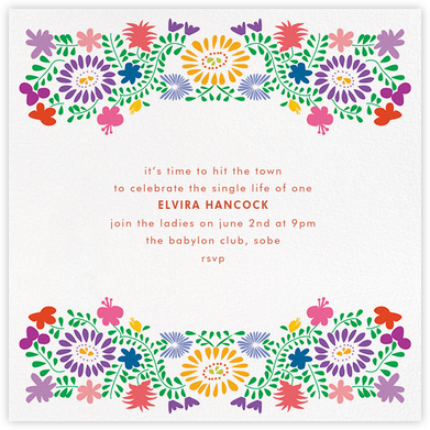 Oaxacan (Square) - White - Paperless Post - Bachelorette party invitations