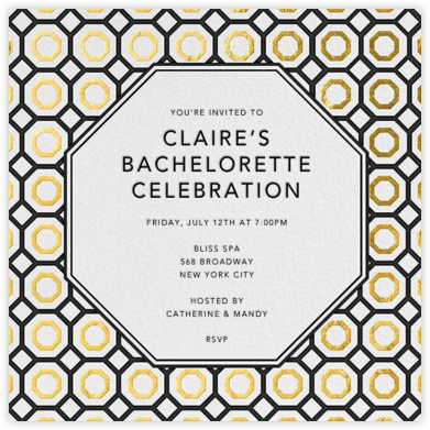 Nixon - Black And Gold - Jonathan Adler - Bachelorette Party Invitations