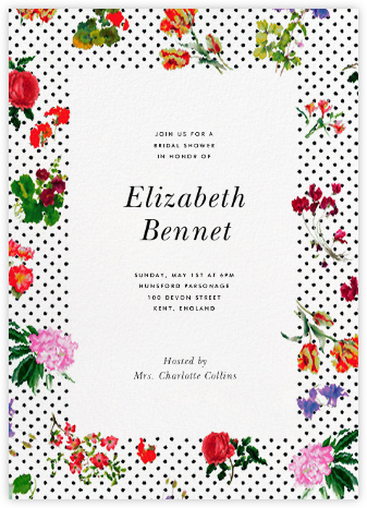 Botanical Dot - White - Oscar de la Renta - Bridal shower invitations