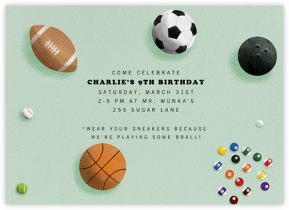 Sports Balls - Paperless Post - Online Kids' Birthday Invitations