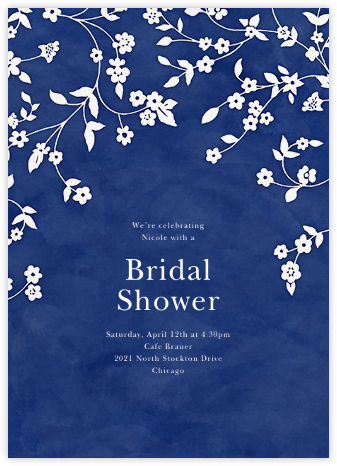 Floral Trellis II - Blue/White - Oscar de la Renta - Bridal shower invitations