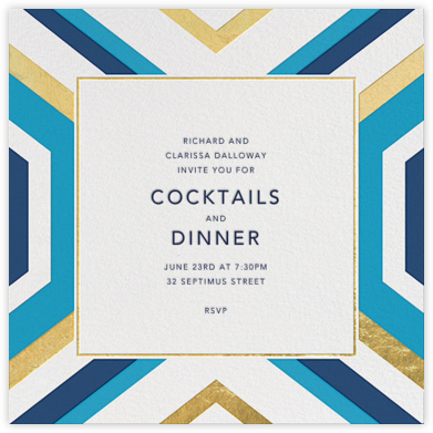Geo - Gold and Blue - Jonathan Adler - General Entertaining Invitations