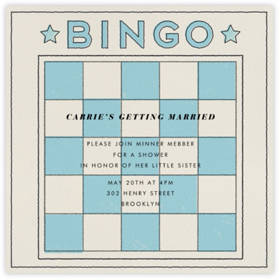 Bingo Card - Paperless Post - Bridal shower invitations
