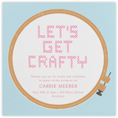 Needlework Hoop - Paperless Post - Bridal shower invitations