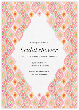 Ikat Diamond - Peach - Paperless Post - Bridal shower invitations