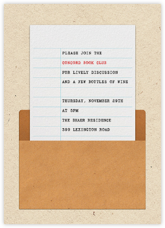Library Card - Paperless Post - Book club invitations