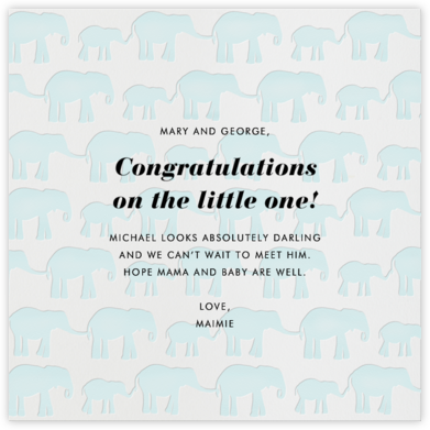 Elephants - Congratulations (Baby) - Linda and Harriett - Congratulations cards