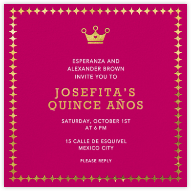 Royal Glam - Hot Pink - Jonathan Adler - Quinceañera Invitations