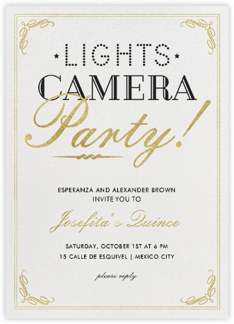 Lights, Camera, Party - Crate & Barrel - Sweet 16 invitations