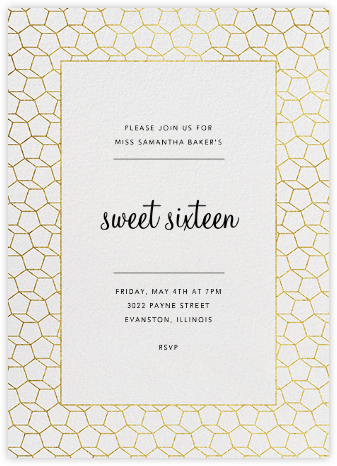 Fullerene - Gold - Paperless Post - Sweet 16 invitations