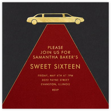 Red Carpet - Paperless Post - Sweet 16 invitations