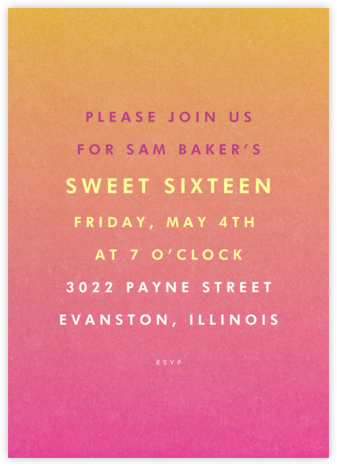 Gradient Full - Pink - Paperless Post - Adult Birthday Invitations