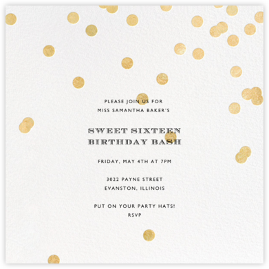 Come Celebrate - Ivory/Gold - kate spade new york - Sweet 16 Invitations