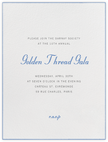 Edge Stain - Lapiz Lazuli and Ivory Tall - Paperless Post - Fundraiser Invitations