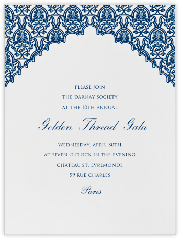 Arabesque (Dark Blue) - Paperless Post - Fundraiser Invitations
