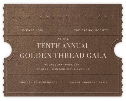 Golden Ticket - Bronze - Paperless Post - Charity and fundraiser invitations