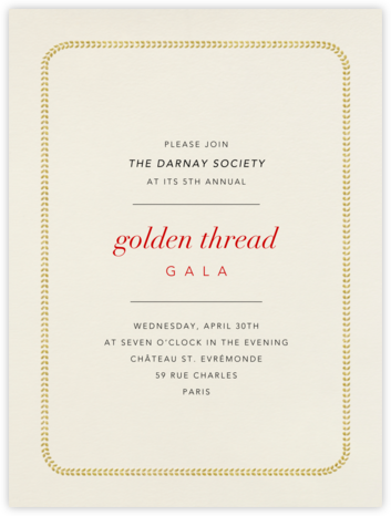 Leaf Inner Bevel Border - Cream Gold (Large Tall) - Paperless Post - Business event invitations