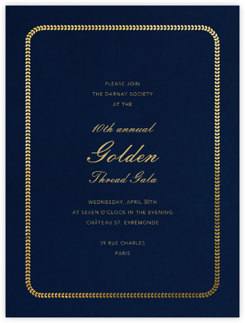 Inner Leaf Gold Bevel Border - Midnight Tall - Paperless Post - Charity and fundraiser invitations