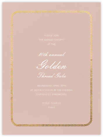 Inner Leaf Gold Bevel Border - Rose Tall - Paperless Post - Business event invitations