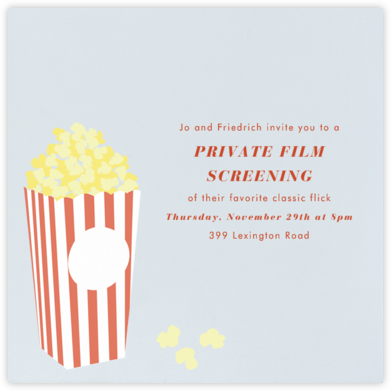 Bucket of Popcorn - Blue - Paperless Post - Online Party Invitations