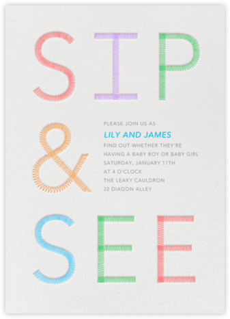 Sip & See Stitch - Paperless Post - Baby Shower Invitations