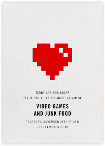 8Bit Heart - Paperless Post - Invitations