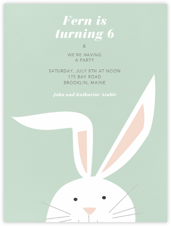 Bunny - Mint - Paperless Post - Birthday invitations