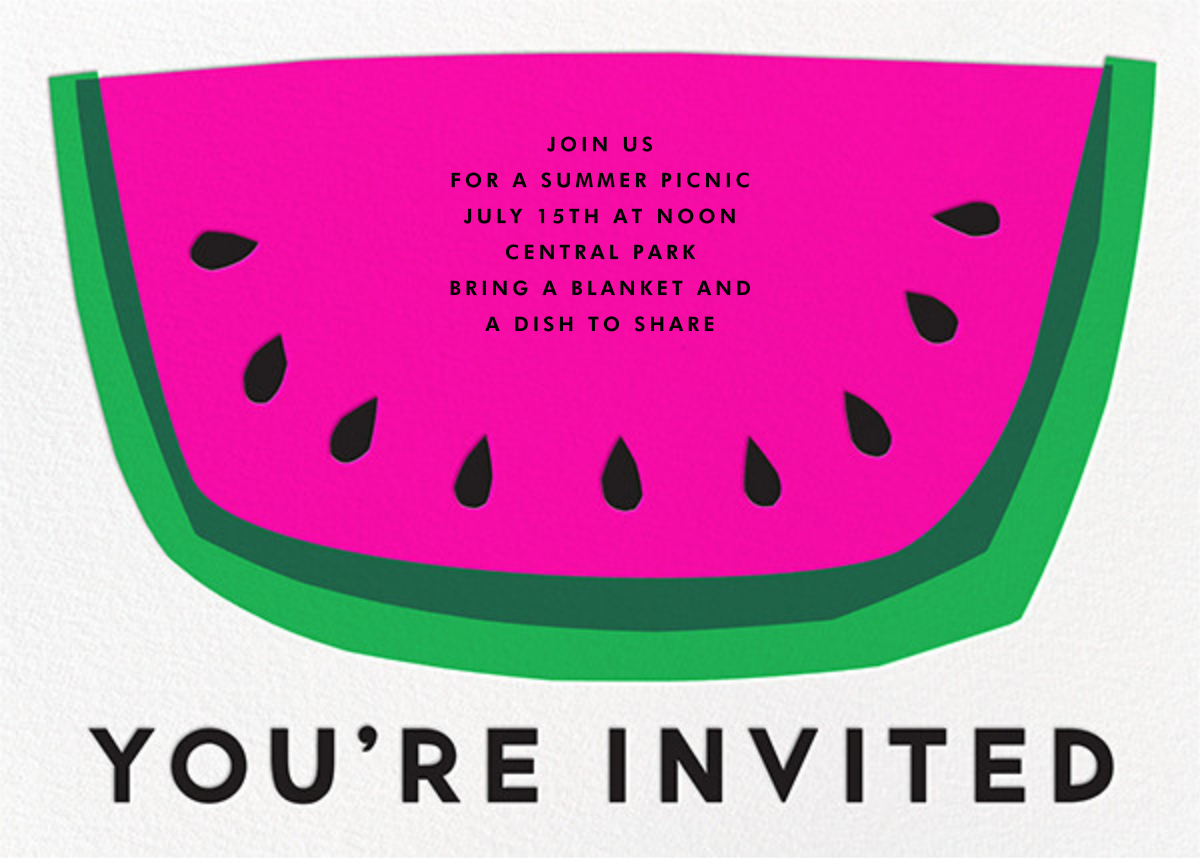 Watermelon Slice - The Indigo Bunting - Summer entertaining invitations