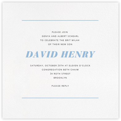 White (Square) - Paperless Post - Bris and baby naming invitations