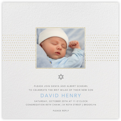 Dotted Band - Paperless Post - Bris and baby naming invitations