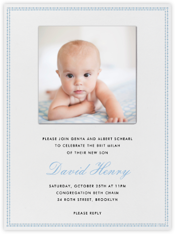 Uneven Dots (Ivory with Blue) - Paperless Post - Bris and baby naming invitations