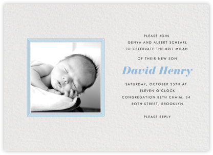 Square Frame - Horizontal (Blue)  - Paperless Post - Bris and baby naming invitations