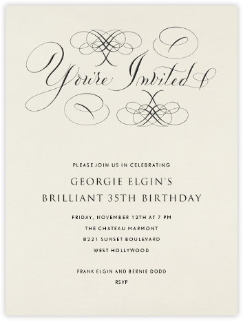 You're Invited - Cream Flourished - Bernard Maisner - Adult Birthday Invitations
