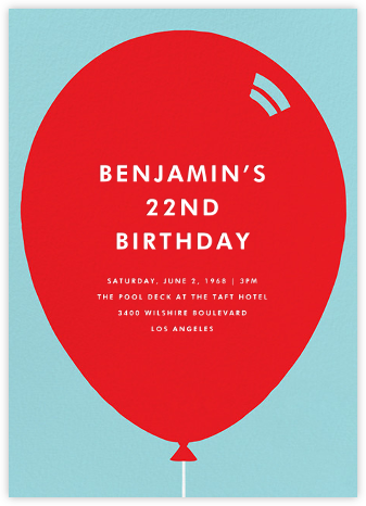 Birthday Balloon - Red - Paperless Post - Adult Birthday Invitations