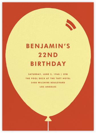 Birthday Balloon - Lemon Drop - Paperless Post - Adult Birthday Invitations