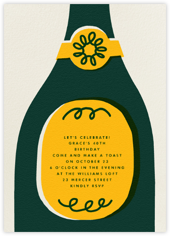 Champ Bottle - The Indigo Bunting - Adult Birthday Invitations