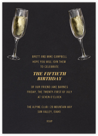 Champagne Glasses - Paperless Post - Adult Birthday Invitations