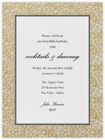 Naive Wave - Gold - Paperless Post - Adult Birthday Invitations
