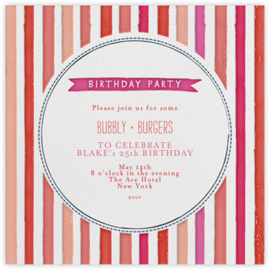 Chocolate or Vanilla Ice Cream - Pinks - Mr. Boddington's Studio - Adult Birthday Invitations