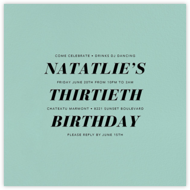 Celadon (Square) - Paperless Post - Adult birthday invitations