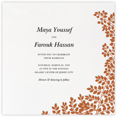 Fern II (Invitation) - Pumpkin - Paperless Post - Wedding Invitations