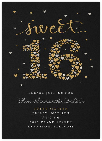 Sweet Stars & Hearts - Paperless Post - Sweet 16 invitations