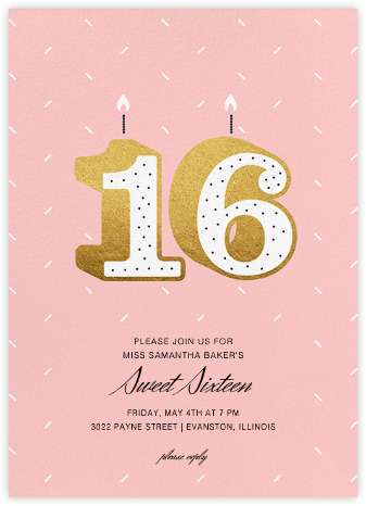 Sixteen Candles - Paperless Post - Sweet 16 invitations