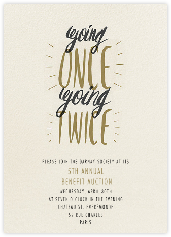 Goin Once Going Twice - Paperless Post - Business event invitations