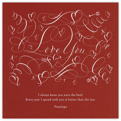 Love You - Crimson - Bernard Maisner - Anniversary Cards
