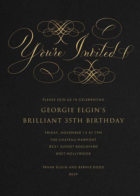 You're Invited - Black - Bernard Maisner - Adult birthday invitations