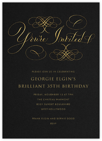 You're Invited - Black - Bernard Maisner - Adult birthday invitations