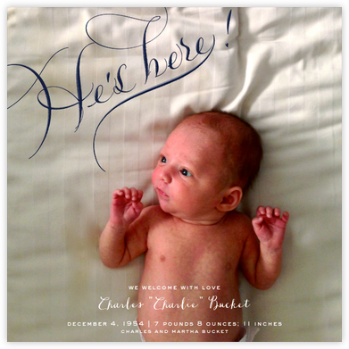 He's Here Photo - Navy - Bernard Maisner - Birth Announcements