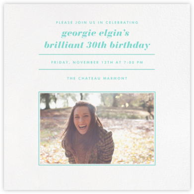Square Centered - Tiffany - Paperless Post - Adult Birthday Invitations